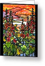 Stained Glass Tiffany Red Hollyhocks In Landscape In Watercolor Greeting Card