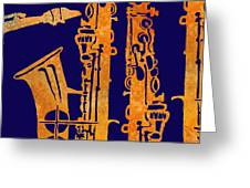 Red Hot Sax Keys Greeting Card