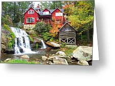 Red House By The Waterfall Greeting Card