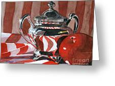 Red In Silver Greeting Card