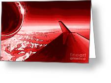 Red Jet Pop Art Plane Greeting Card