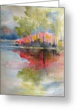 Red Lake Reflection #2 Greeting Card