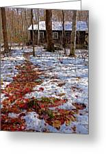 Red Leaves On Snow - Cabin In The Woods Greeting Card