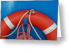 Red Life Belt On Blue Wall Greeting Card