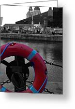 Red Lifebelt At Albert Dock 2 Greeting Card