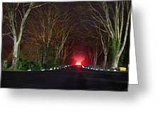 Red Light, Smoke And Flames Glowing Greeting Card