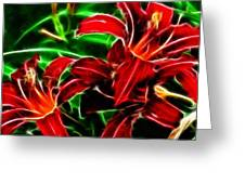 Red Lilies Expressive Brushstrokes Greeting Card