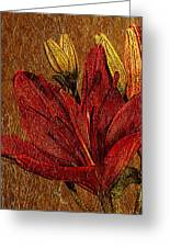 Red Lily Gold Leaf Greeting Card