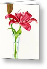 Red Lily In A Vase Greeting Card