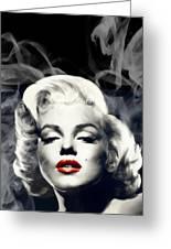 Red Lips Marilyn In Smoke Greeting Card