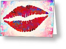 Red Lips Watercolor Painting Greeting Card