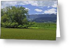Red Lodge Spring Scene Panorama 3 Greeting Card by Roger Snyder