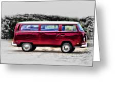 Red Microbus Greeting Card
