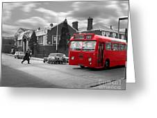 Red Midland Bus And Sheep - 1960's    Ref-126 Greeting Card