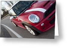 Red Mini-cooper Car On County Road Greeting Card