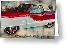 Red Mini Nash Vintage Car Greeting Card