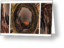 Red Moon Rising - Abstract - Triptych Greeting Card