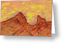 Red Mountain At Sunset Greeting Card