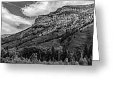 Red Mountain Cliffs In Black And White Greeting Card