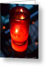 Red Nightclub Candle And Flame Reflected In A Mirrored Cocktail Tabletop Greeting Card