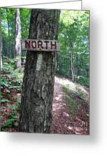 Red North Sign Greeting Card