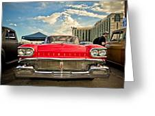 Red Oldsmobile  Greeting Card by Merrick Imagery