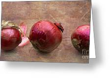 Red Onions On Barnboard Greeting Card