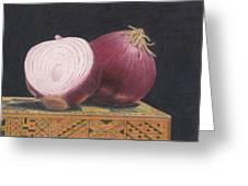 Red Onions On Chess Box Greeting Card
