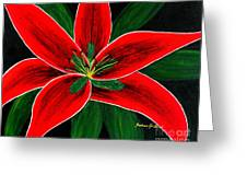 Red Oriental Lily Greeting Card