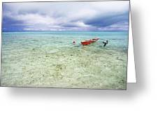 Red Outrigger Canoe Greeting Card