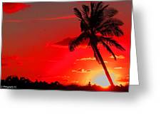 Red Palm Greeting Card