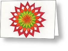 Red Passion Mandala Greeting Card