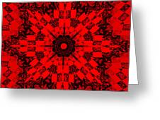 Red Patchwork Art Greeting Card