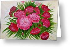 Red Peonies Greeting Card