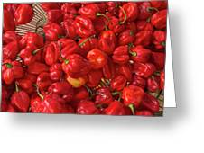Red Peppers At The Saturday Market, San Greeting Card