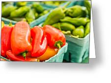 Red Peppers On Display Greeting Card
