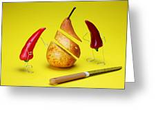 Red Peppers Sliced A Pear Greeting Card