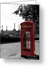 Battersea Power Station And The Red Phone Box Greeting Card
