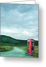 Red Phone Box On Rural Road Greeting Card