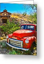 Red Pickup Truck At Santa Fe Greeting Card