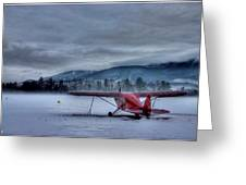 Red Plane In A Gathering Storm Greeting Card