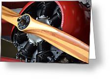 Red Plane With Wood Propeller Greeting Card