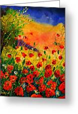 Red Poppies 45 Greeting Card by Pol Ledent