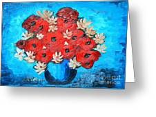Red Poppies And White Daisies Greeting Card