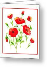 Red Poppies Botanical Design Greeting Card