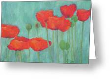 Red Poppies Colorful Poppy Flowers Original Art Floral Garden  Greeting Card