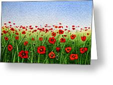 Red Poppies Green Field And A Blue Blue Sky Greeting Card