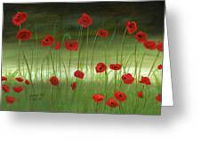 Red Poppies In The Woods Greeting Card