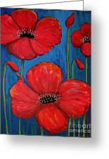 Red Poppies On Blue Greeting Card