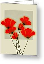 Red Poppies On Gray - Abstract Flower Art Greeting Card